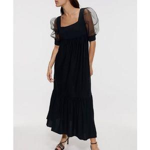 Zara organza sleeve knit black midi dress